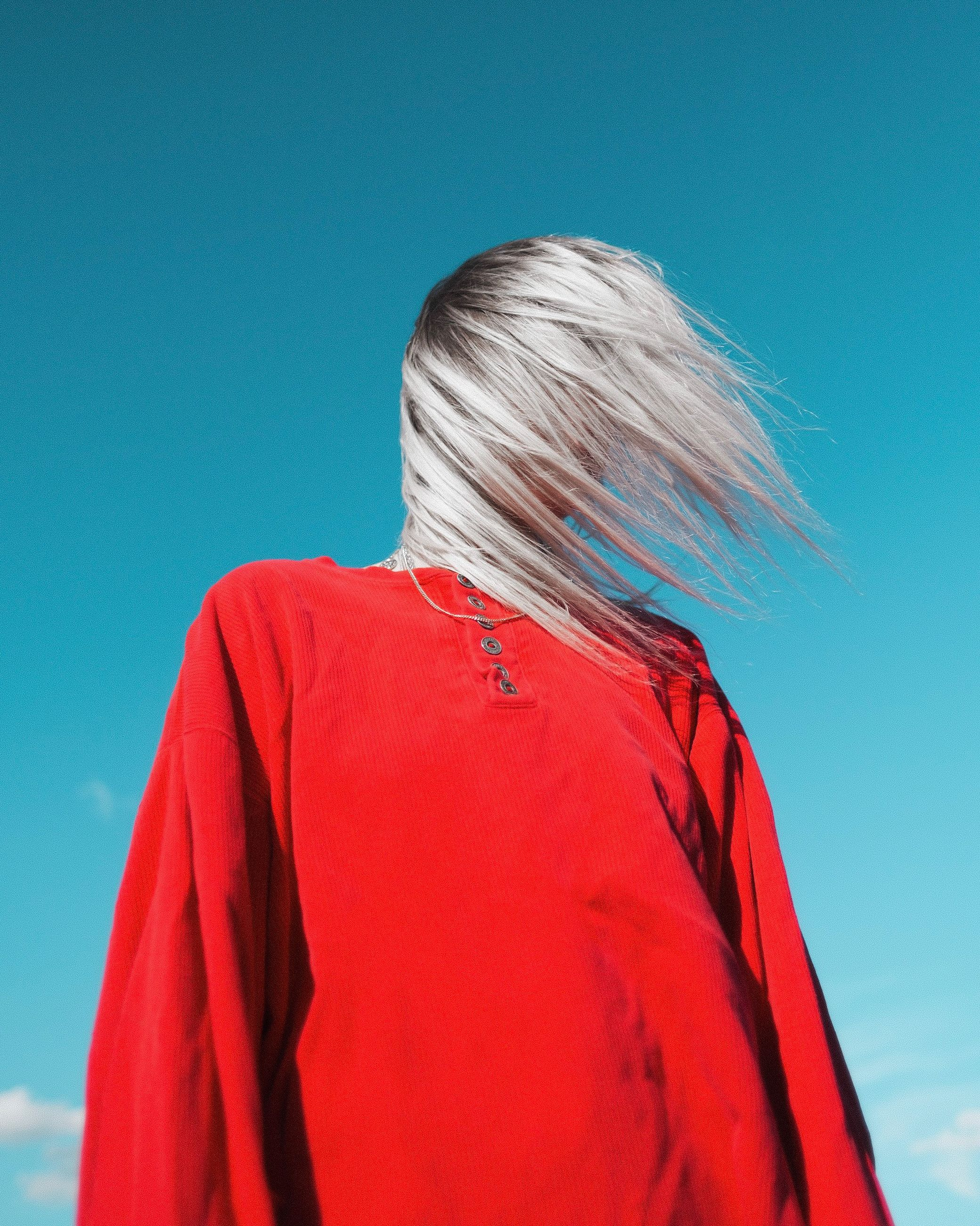 hair, red, one person, hairstyle, blond hair, rear view, sky, long hair, blue, women, adult, lifestyles, leisure activity, motion, real people, clear sky, casual clothing, waist up, nature, obscured face, human hair