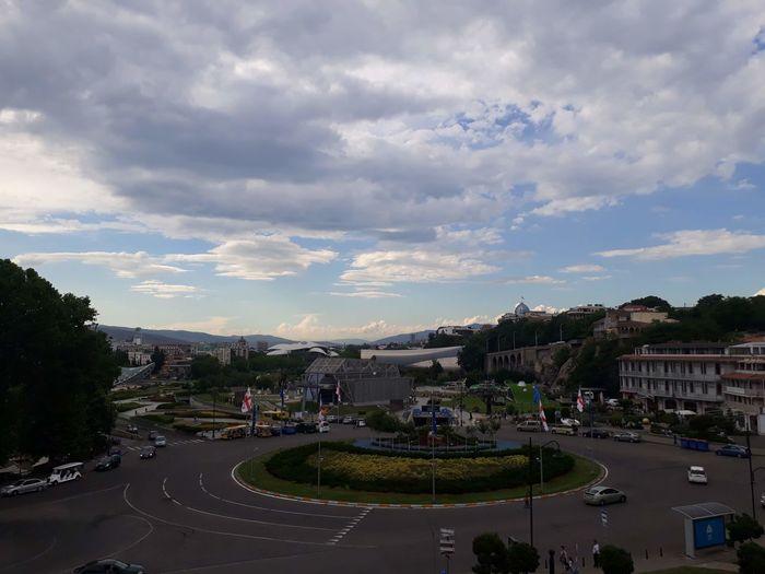 Tree City Multi Colored Water Sky Cloud - Sky Landscape