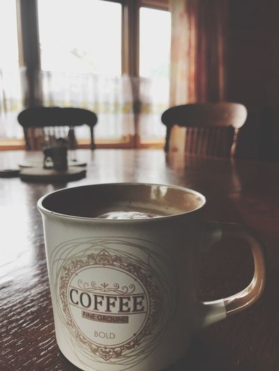 Table Drink Indoors  Text Coffee Cup Refreshment No People Saucer Food And Drink Focus On Foreground Close-up Day Freshness Froth Art Coffee Wood Wood - Material Breakfast