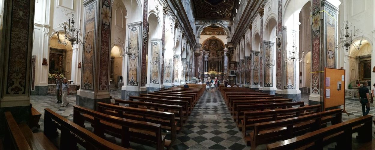 Architecture Religion Place Of Worship Built Structure Pew Belief Spirituality Building Indoors  Day Seat Bench The Way Forward Direction In A Row No People Architectural Column Altar Aisle Duomo Di Amalfi Navata Chiesa Di Sant'andrea Panoramic Photography Panoramic Chiesa