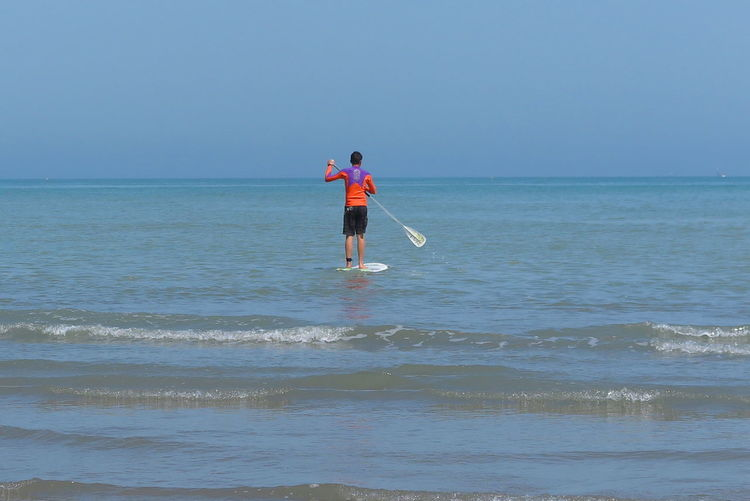 Adriatic Sea Adria Adriatic Coast Sport Sportsman Stand Up Paddling Blue Italy Milano Marittima Water Sport Sea Water Horizon Horizon Over Water Sky Beauty In Nature Land Scenics - Nature Beach Leisure Activity Outdoors