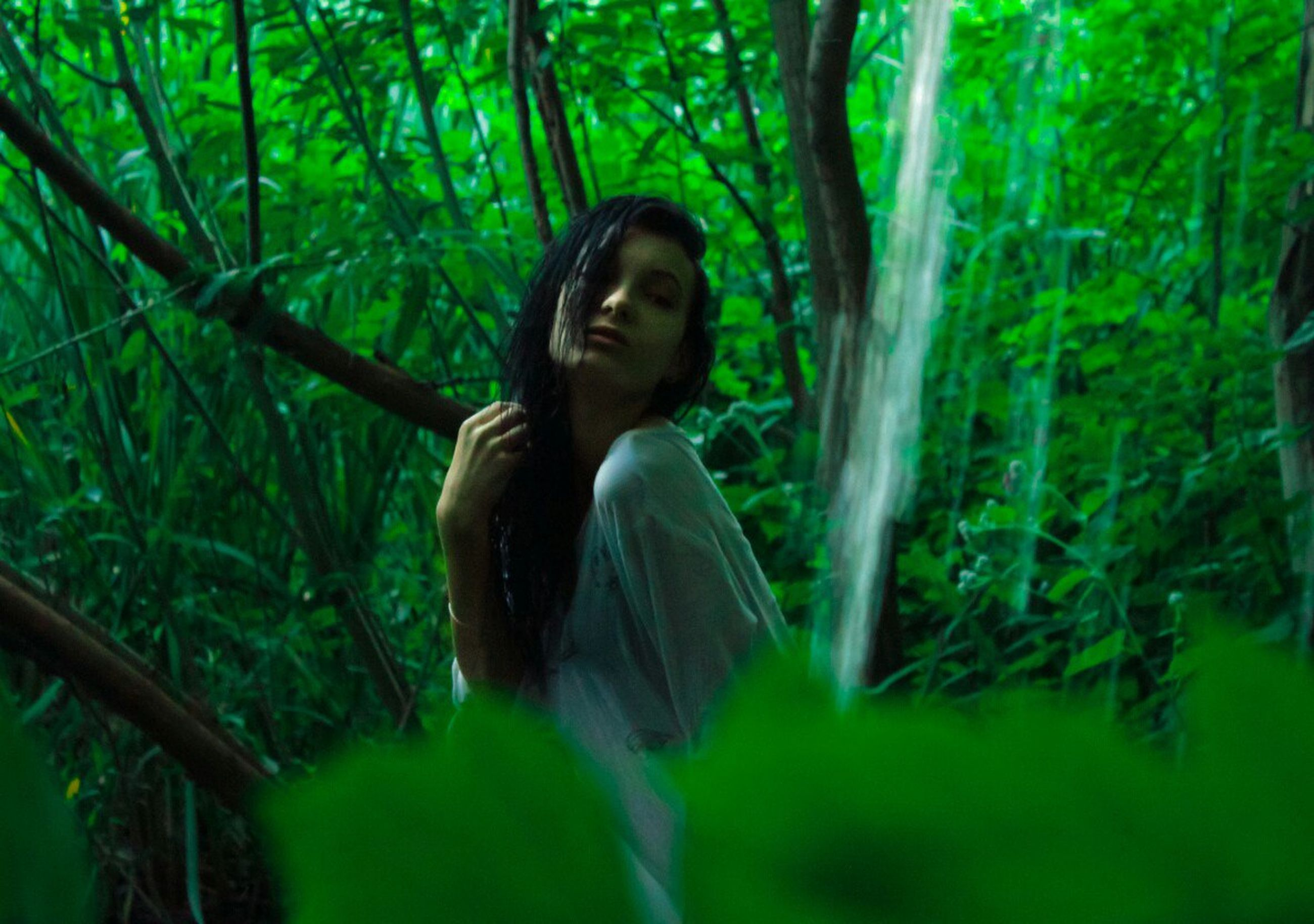 forest, young women, young adult, lifestyles, leisure activity, person, long hair, side view, casual clothing, woodland, tree, tree trunk, green color, vacations, branch, front view, tourism, beauty, plant, non-urban scene, nature, bamboo - plant, tranquility