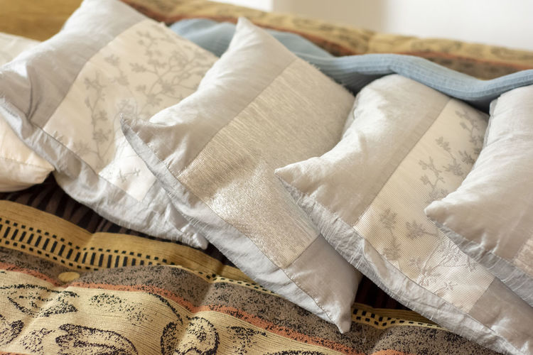 natural pillow Indoors  Textile High Angle View Bed Relaxation No People Furniture Still Life White Color Sheet Bedroom Domestic Room Linen Close-up Home Interior Pillow Comfortable Blanket Paper Crumpled