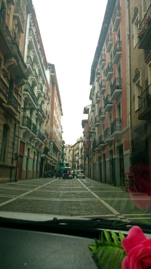 In The Street In The Car Between Streets Hotel Old Town Pamplona June