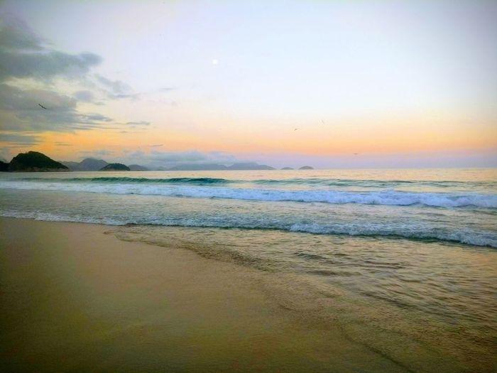 Brazil Sun Copacabana Beach Rio De Janeiro Praia Do Leme Leme Beach Water Sea Low Tide Sunset Beach Multi Colored Sand Wave Horizon Sky