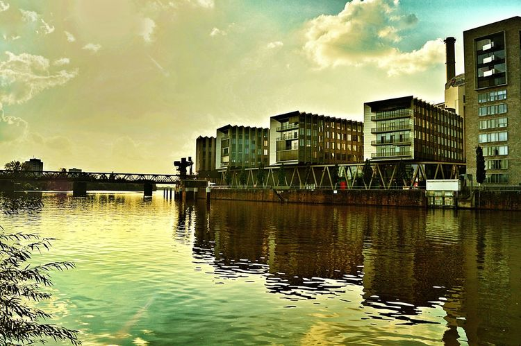 Industrial Landscapes Industrial Architecture Westharbour Main River Frankfurt Am Main Water Reflection Reflections In The Water Built Structure Building Exterior City Waterfront Architecture Evening Sun River Nature Outdoors No People Hdr Edit Germany🇩🇪