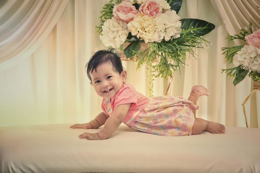 Baby girl Baby Malaysia One Person One Girl Only Child Children Only Childhood Portrait Smiling Looking At Camera Girls Cute Flower Happiness Indoors  Sitting Cheerful Beautiful People Beauty Full Length Day People Go Higher