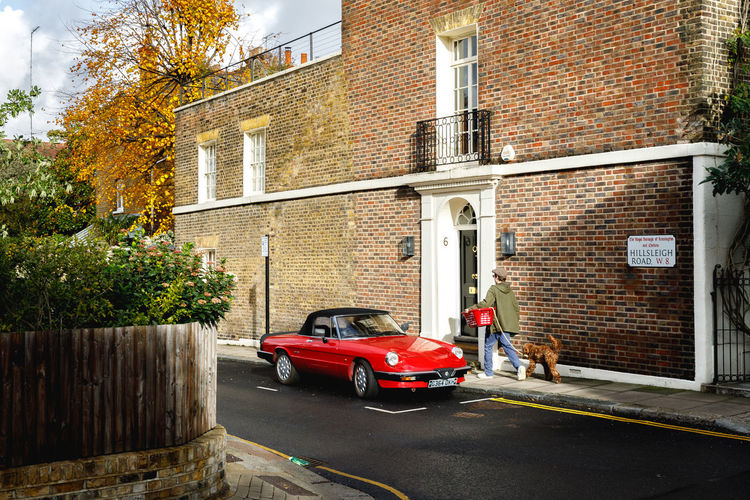 Autumn in London Architecture Built Structure Building Exterior Mode Of Transportation Transportation Motor Vehicle Land Vehicle Car City Building Day Plant Street Brick Wall Tree Red Brick Outdoors Wall Nature Garage London Travel Destinations Dog Autumn Autumn Mood British Culture
