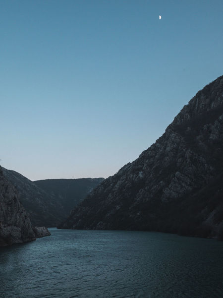 River canyon at evening Beauty In Nature Bosnia And Herzegovina Calm Canyon Dusk Evening Landscape Moon Mountain Natural Nature Neretva No People Nobody Outdoors River Scenics Sky Twilight Water