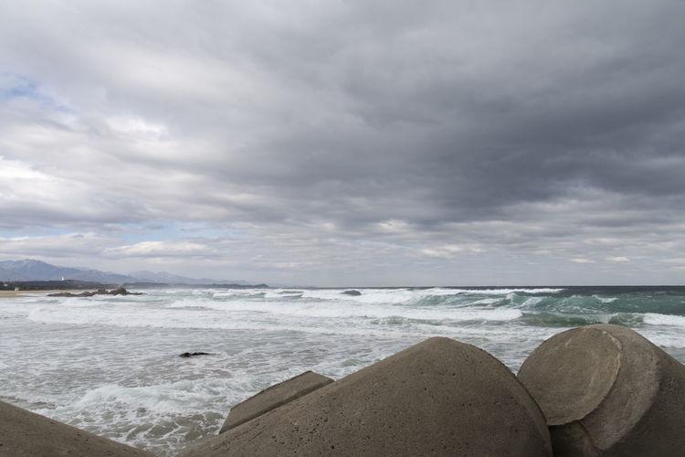 sea view of Hajodae Beach, Yangyang, Gangwondo, South Korea Beach Beauty In Nature Cloud - Sky Day Hajodae. Horizon Over Water Long Exposure Nature No People Outdoors Scenics Sea Sky Surge Water Wave Wave Winter