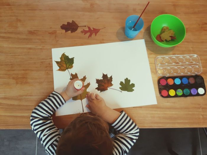 High angle view of boy sticking autumn leaves on paper