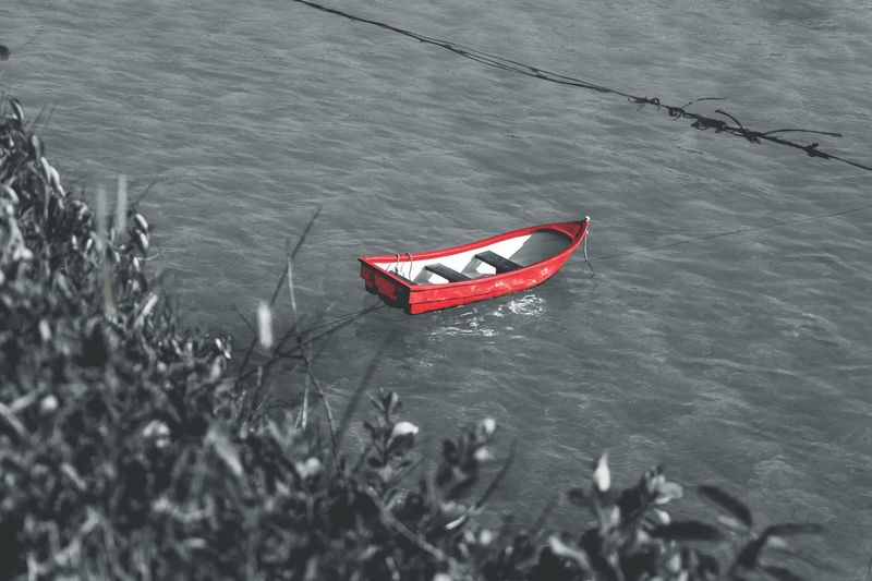 Red boat on