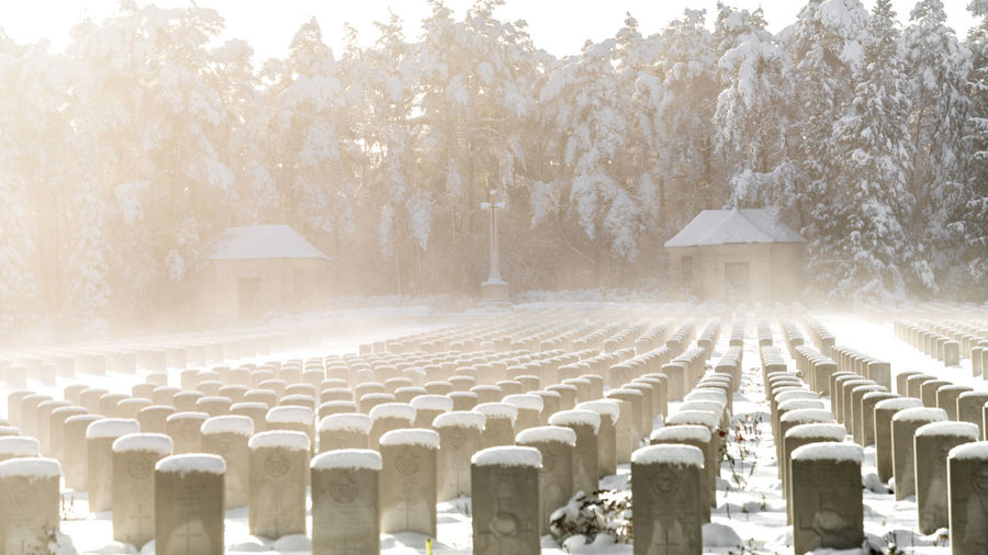 View of cemetery during winter