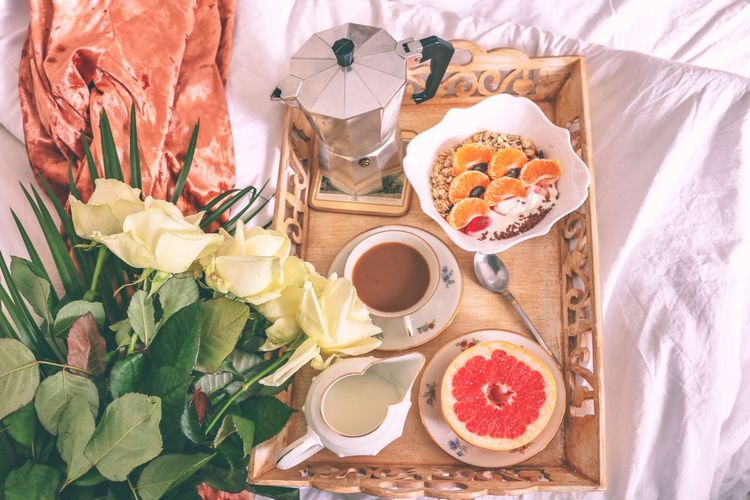 Food And Drink Breakfast Indoors  High Angle View Plate No People Bed Freshness Food Healthy Eating Drink Flower Day Bedroom Ready-to-eat