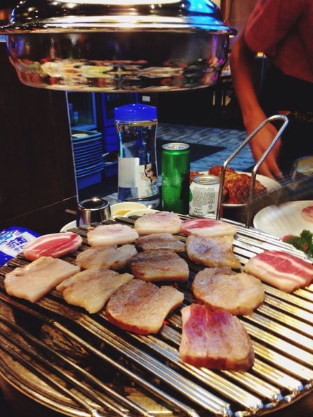 Korean Barbecue Food And Drink Food Freshness Indoors  Human Body Part Indulgence Meat Unhealthy Eating Human Hand Real People Close-up Cooking Korean Food Korean BBQ Korean Barbeque Belly Pork Ready-to-eat Day