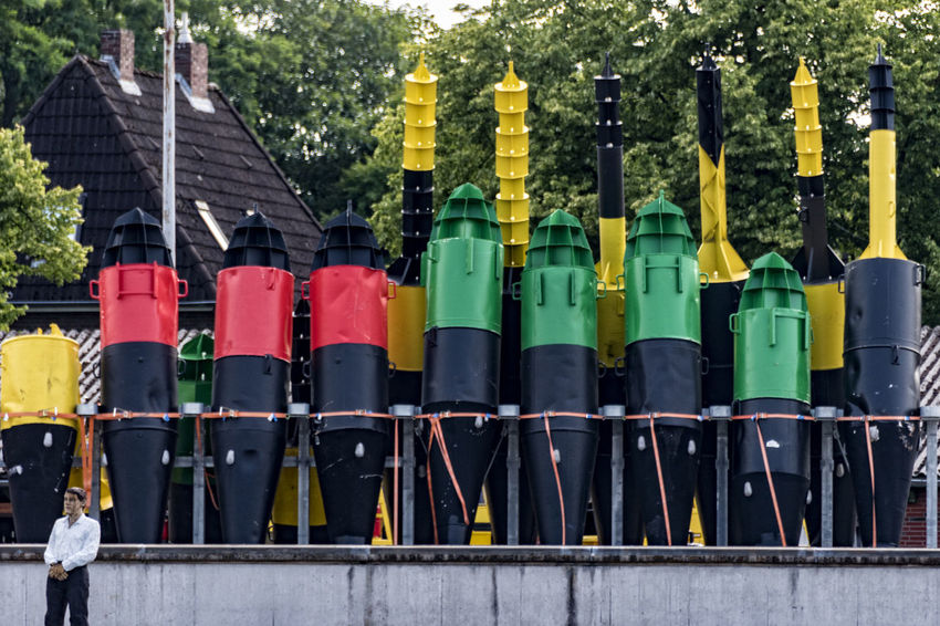 buoys ArtWork Elbe River Green Hamburg Harbour Red Balkenhol Figure Black Buoys Day Finkenwerder House House Roof In A Row Multi Colored No People Outdoors Tree Yellow