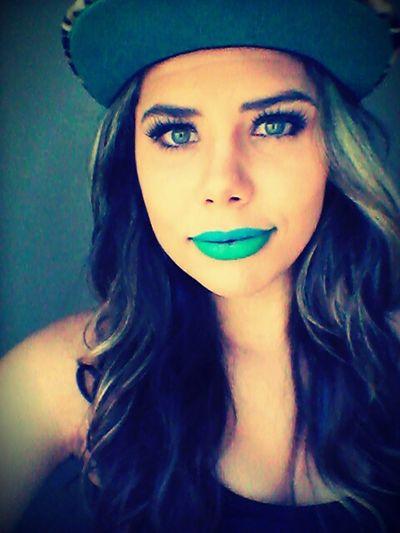 ? Blue Lips Green Lips Portrait Snapback