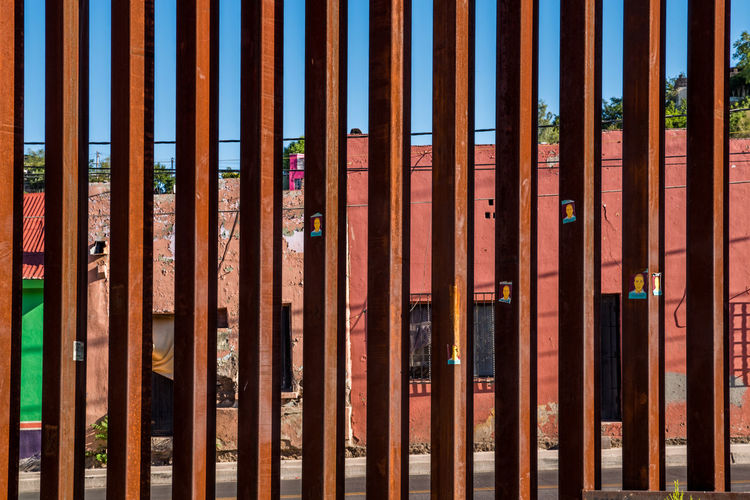 United States - Mexico border fence in Nogales, Arizona Arizona Border Border Patrol Customs Emigration Fence Government Homeland HOMELAND SECURITY Illegal Immigration Immigration Reform International International Landmark Mexico Politic Politics Politics And Government Security Seperation Smuggling Us USA Wall Wall - Building Feature