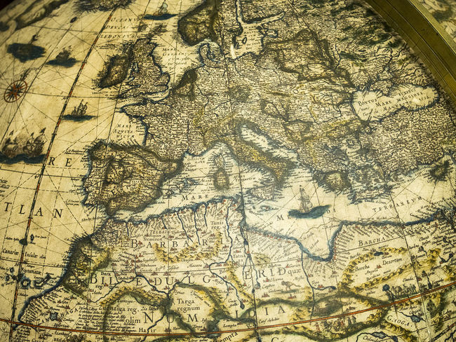 Classic Close-up Continent Culture Day Details Education Europe Explorer Full Frame Geography Globe Grand Tour Handcraft Map No People Old Old Map Old-fashioned Tradition Vintage Work Of Art