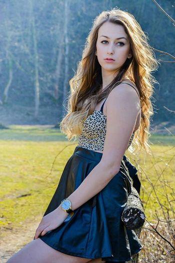 My friend Simona Girl Hair Fashion Portrait Photography Nature Leopard Print Wavy Hair Friend Slovakia