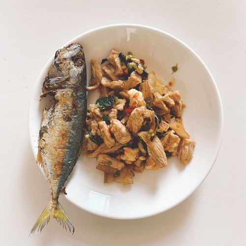 High angle view of fish served in bowl