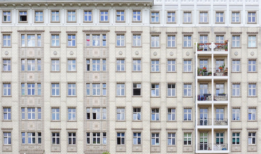 windows and balconies Architecture Window Built Structure Building Exterior Building Full Frame City Backgrounds Residential District No People Day Pattern Repetition Low Angle View Side By Side Outdoors Modern In A Row Glass - Material Apartment Frankfurter Allee Balconies Stalinallee DDR