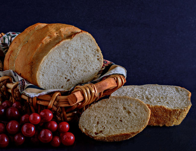 Detail Shot Of Bread Over Black Background