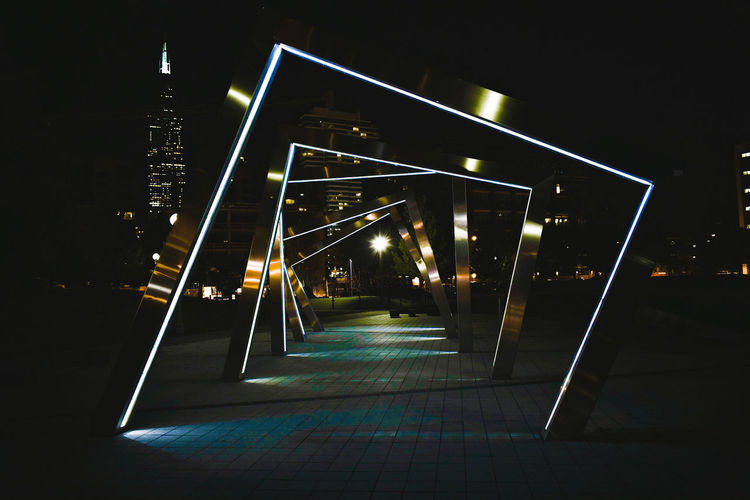 Night Illuminated No People Outdoors Chicagoshots Chicago, Illinois Built Structure Chicago Dark Darkness Darkness And Light Night Lights Night Photography Nightshot Night View