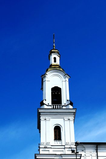Religion Blue Architecture No People Sunny Sky Outdoors Place Of Worship Building Exterior Clear Sky Day Spirituality Church Dome Church Cross Dome Clear Sky Golden Dome Vitebsk,Belarus Church Architecture Church Tower Church Collection