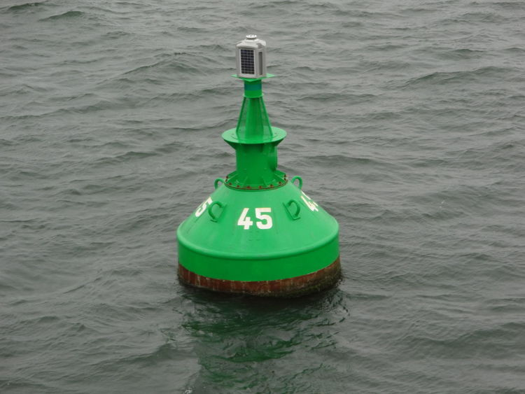 Green Color Safety Water Buoy No People Floating On Water Outdoors Sea Boje Navigation Mark Navigation Shipping  Schifffahrt North Sea Nordsee Light Licht Sea View Moored Buoy Fahrrinne Fairway