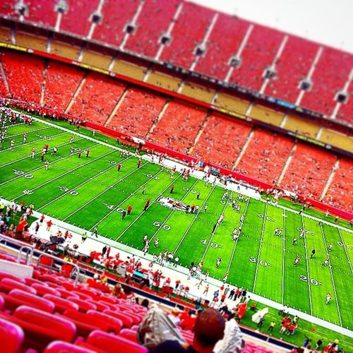 (Kc Cheifs stadium) the game is about to start!!! GO CHEIFS!!!!!!! IT'S (The cheifs VS Cincinnati Bengals LETS' DO THIS!!!!! Kansascityfootball KCcheifs Cheifs @kcchiefs :D