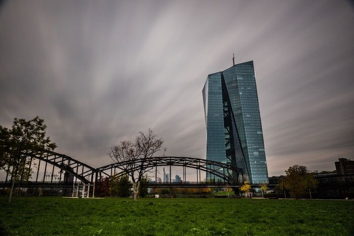 A windy noon at the Frankfurt Osthafen. Architecture Sky City Travel Destinations Cloud - Sky Grass Skyscraper Built Structure Outdoors Building Exterior Tower Tree No People Modern Day Urban Skyline Cityscape Frankfurt Ecb Osthafen Ostend Ecb_tower