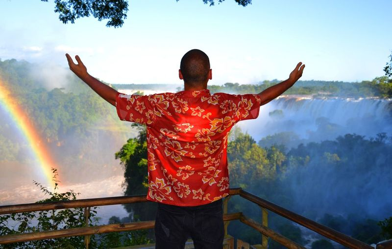 who made heavem a place on earth? Argentina Arms Outstretched Beauty In Nature Brasil Day Foz De Iguacu Heaven On Earth Lifestyles Men Nature One Person Outdoors People Real People Rear View Red Religion Sky Spirituality Standing Waterfall