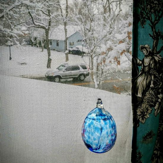 Snow Day Spring Snow Storm Street Photo View From The Window... Blue Glass Toile Curtain Antique Windows Jeep Colorado Photography Eyeem Photography Heavy Snowy Day