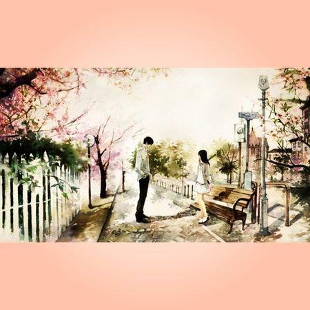 Anime Animegirl Animeboy Animelover otaku otakulover love girl boy kawaii cute afternoon sakura blossom cherry spring drawings paintings art otakuboy otakugirl