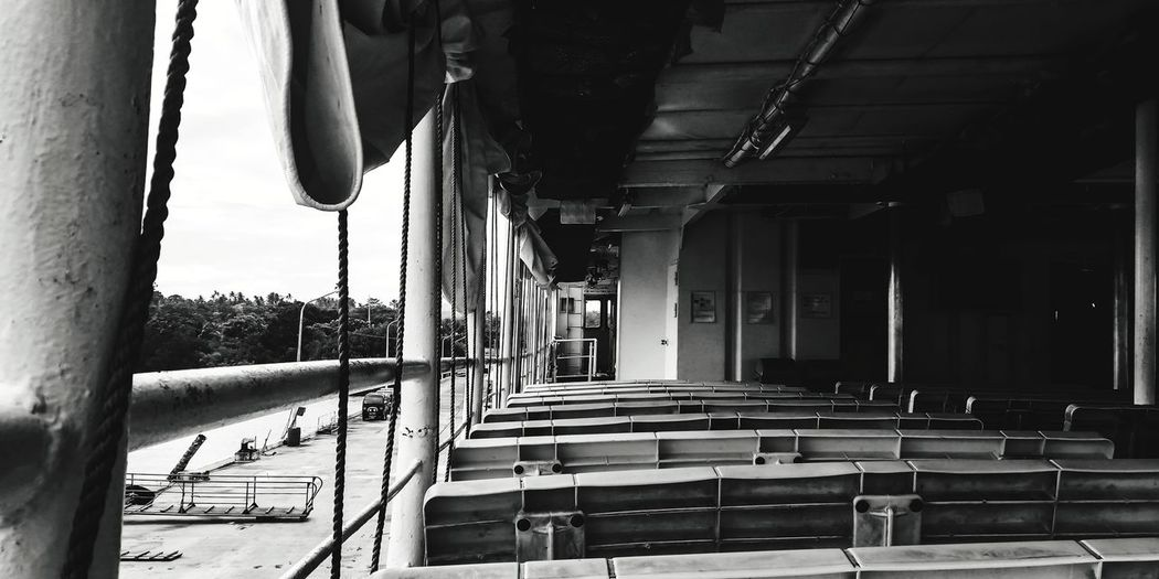 Empty benches in building
