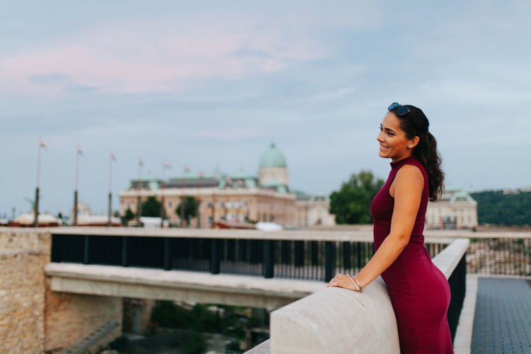 Summer vibes Brunette Budapest Castle Casual Clothing Day EyeEm Best Shots EyeEm Gallery EyeEmBestPics Focus On Foreground Girl Hungary Leisure Activity Lifestyles Modeling Outdoors Sky Smile Sunset TeamCanon Weekend Activities Young Adult People And Places