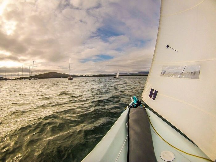 Sailing among the Clew Bay islands off the West coast of Ireland is definitely one of my most favourite things to do. Sometimes I take the GoPro out with me just to see what I'll capture with no real agenda. This photo captures one of my favourite views, coming back into the club, beautiful. Transportation Nautical Vessel Cropped Part Of Water Sea Boat Sky Mode Of Transport Ocean Cloud Nature Calm Cloud - Sky Day Tranquility Outdoors Tranquil Scene Blue Scenics