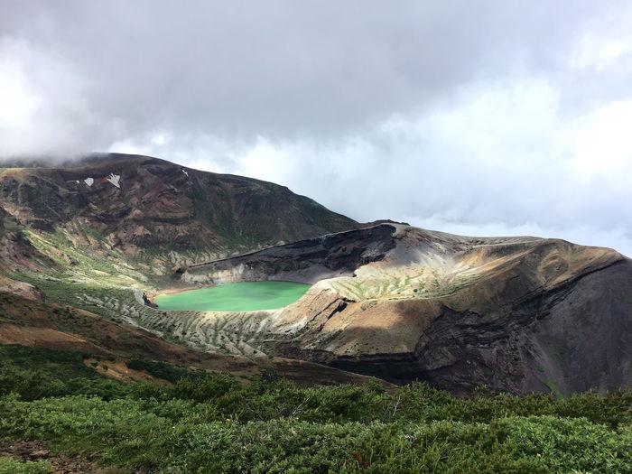 Scenic view of volcano lake at zao mountain, japan