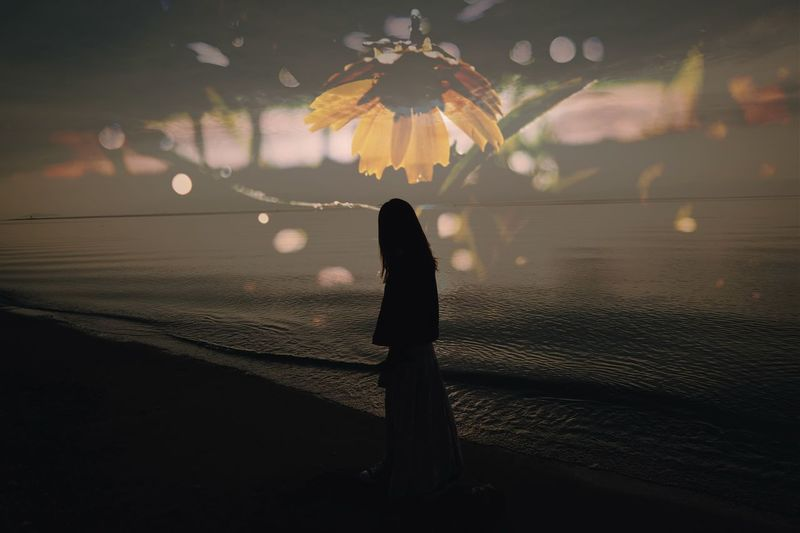 Silhouette One Person Real People Nature Sky Standing Water Lifestyles Leisure Activity Beauty In Nature Beach Sunset Land Night Outdoors Cloud - Sky Unrecognizable Person Women