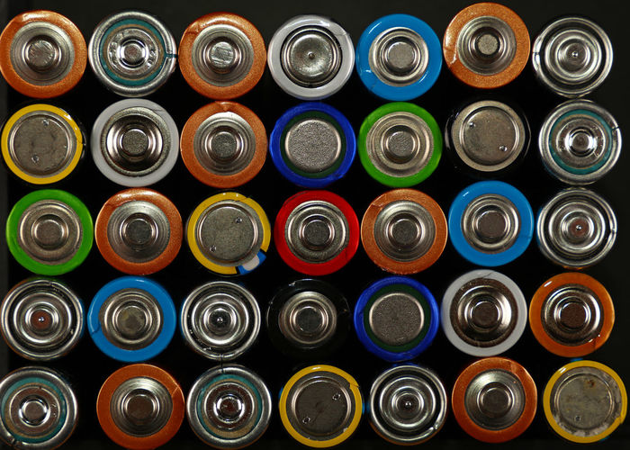 Full frame shot of colorful batteries