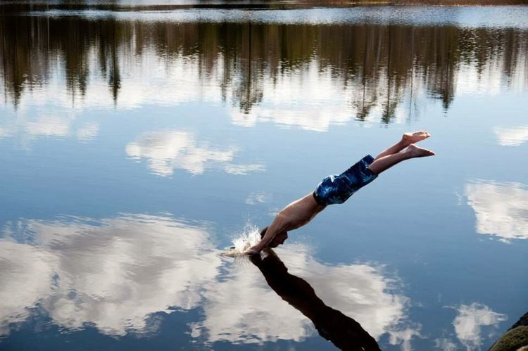 Men One Man Only Only Men Reflection Human Body Part Water One Person Adults Only Nature Lake Full Length Day Outdoors Adult Real People Human Hand Sky Young Adult Athlete People Diving Divingphotography