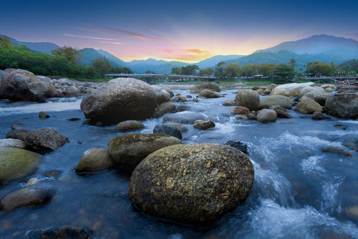 Nakhon Si Thammarat Thailand Beauty In Nature Flowing Flowing Water Idyllic Kiriwong Land Long Exposure Motion Nature No People Non-urban Scene Rock Rock - Object Scenics - Nature Sea Sky Solid Sunset Tranquil Scene Tranquility Water