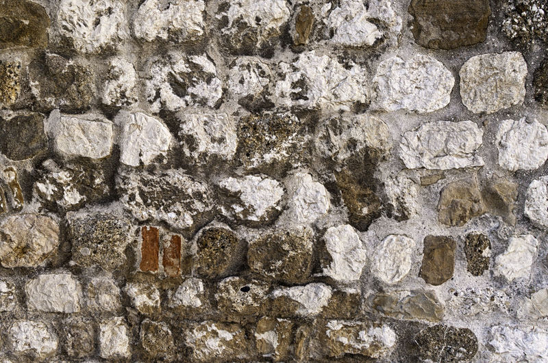 Old white and brown stones wall texture. Abstract grunge uneven bricks and concrete background. Multicolored stones and bricks rock pattern Antique Exterior Hard Rock Rustic Wall Weathered Abstract Backgrounds Bricks Brown Cement Concrete Grunge Multicolored Old Pattern Rough Solid Stone Surface Textured  Uneven Vintage White