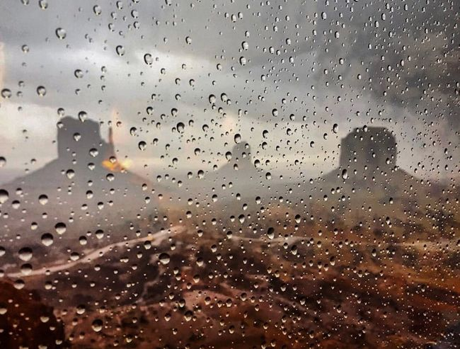 Before the storm Desert Southwest  Monument Valley Drop Window Wet Glass - Material Rain Weather RainDrop Full Frame Water Indoors  No People Close-up Sky Day Backgrounds Rainy Season Nature Sunset
