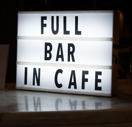 Letters Marble Top Lamp Table Reflection Service Sign Bar Cafe Counter Full Frame White