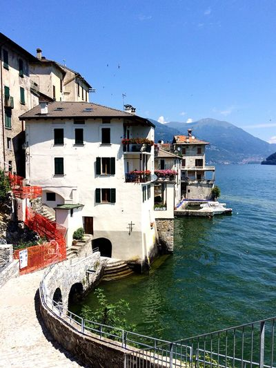 Lake Como. Architecture Building Exterior Built Structure Water Nautical Vessel No People Clear Sky Outdoors Day Mountain Travel Destinations Sea Vacations Beach Sky Nature City Sommergefühle EyeEm Best Shots Travel Photography Travelgram Sommergefühle