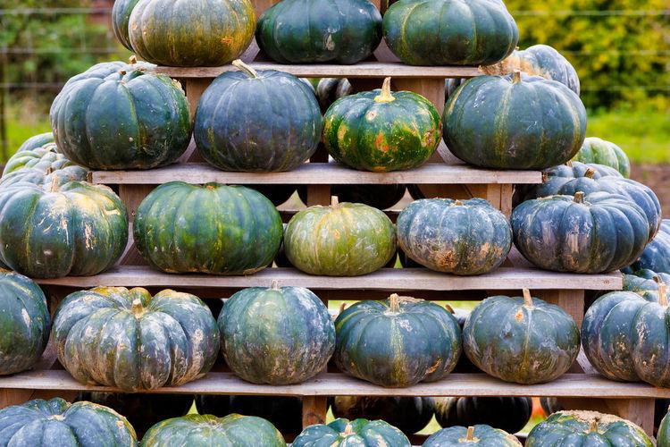 Stack of pumpkins at market stall