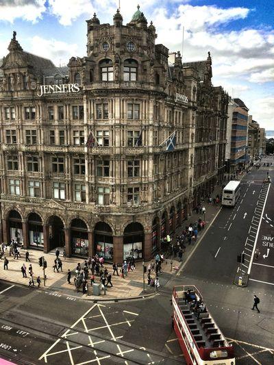 Seeing the sights in Scotland. Edinburgh Jenners Edinburgh Scotland Double Decker Bus