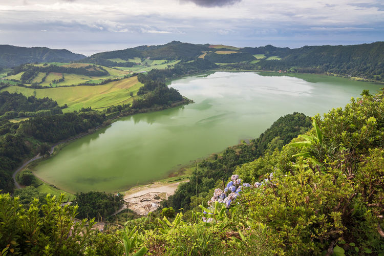 View of the lake furnas on sao miguel island, azores, from the pico do ferro scenic viewpoint